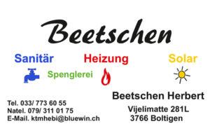XSiSa - Mitfahrbänkli - Logo Sponsoren - Link zur Webseite - Beetschen Sanitär Heizung